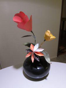 Ikebana arrangement made of paper flowers