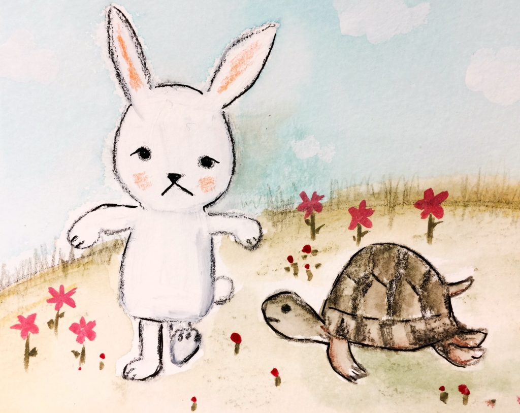 My own drawing of the rabbit and the turtle