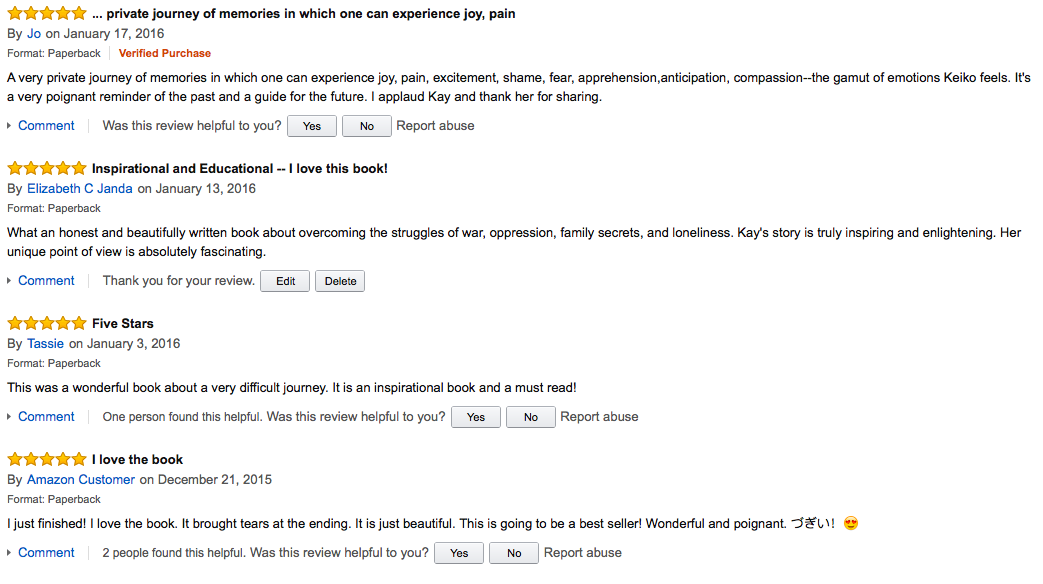 Amazon reviews 5 stars for Keiko's Journey