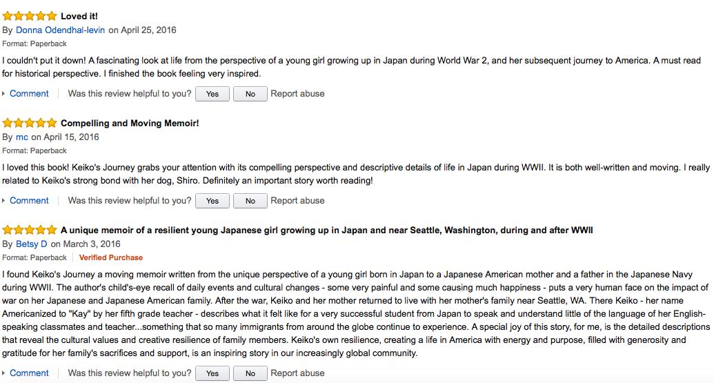 Keiko's Journey book reviews